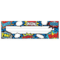 Teacher Created Resources Flat Name Plates, 3 1/2 inch; x 11 1/2 inch;, Superhero, 36 Plates Per Pack, Case Of 5 Packs