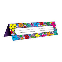 Teacher Created Resources Tented Name Plates, 7 inch; x 11 1/2 inch;, Happy Stars, Pre-K - Grade 8, 36 Plates Per Pack, Set Of 4 Packs