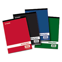 TOPS; Writing Tablet, 6 inch; x 9 inch;, Gregg Ruled, Assorted Colors, 200 Pages (100 Sheets), Pack Of 4