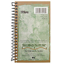 TOPS™ Second Nature; 100% Recycled Side Opening Memo Book, 3 inch; x 5 inch;, 1 Subject, Narrow Ruled, 50 Sheets, White