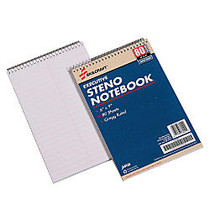 50% Recycled Steno Notebooks, 6 inch; x 9 inch;, Gregg Ruled, 80 Pages (40 Sheets), White/Blue, Pack Of 12 (AbilityOne 7530-00-223-7939)