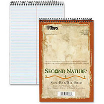 TOPS™ Second Nature; Steno Books, 6 inch; x 9 inch;, Gregg Ruled, 160 Pages (80 Sheets), 100% Recycled, White
