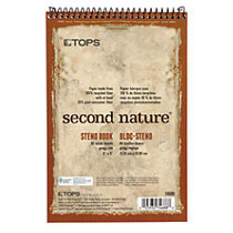 TOPS™ Second Nature; Steno Books, 6 inch; x 9 inch;, Gregg Ruled, 80 Sheets, 30% Recycled, White, Pack Of 12