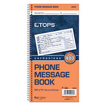 TOPS™ Phone Message Book, 2-Part, 11 inch; x 5 1/2 inch;, 4 Messages Per Page, 100 Pages (100 Sheets), White/Canary