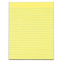 TOPS™ The Legal Pad; Glue-Top Writing Pads, 8 1/2 inch; x 11 inch;, Wide Ruled, 50 Sheets, Canary, Pack Of 12 Pads