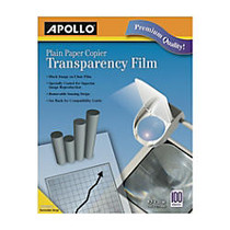 Apollo Plain Paper Copier Transparency Film, Black On Clear With Strip, Box Of 100