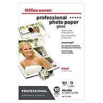 Office Wagon; Brand Professional Photo Paper, Gloss, 4 inch; x 6 inch;, 10.5 Mil, Pack Of 100 Sheets