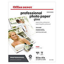 Office Wagon; Brand Professional Photo Paper, Gloss, 8 1/2 inch; x 11 inch;, 10.5 Mil, Pack Of 25 Sheets