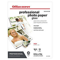 Office Wagon; Brand Professional Photo Paper, Glossy, 8 1/2 inch; x 11 inch;, Pack Of 50 Sheets