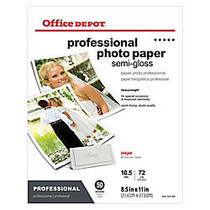 Office Wagon; Brand Professional Photo Paper, Semi-Gloss, 8 1/2 inch; x 11 inch;, Pack Of 50 Sheets