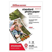 Office Wagon; Brand Standard Photo Paper, Glossy, 4 inch; x 6 inch;, 7 Mil, Pack Of 100 Sheets