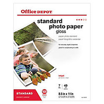 Office Wagon; Brand Standard Photo Paper, Glossy, 8 1/2 inch; x 11 inch;, 7 Mil, Pack Of 100 Sheets