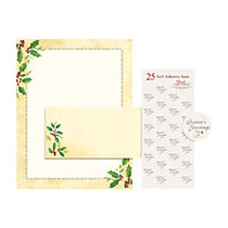 Great Papers! Holiday Stationery Kit, 8 1/2 inch; x 11 inch;, Falling Holly, Pack Of 25