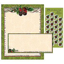 Great Papers! Holiday Stationery Kit, 8 1/2 inch; x 11 inch;, Pinecone Garland, Set Of 25