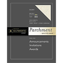 Southworth; Parchment Specialty Paper, 32 Lb., 8 1/2 inch; x 11 inch;, Ivory, Pack Of 250
