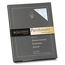 Southworth; Parchment Specialty Paper, 8 1/2 inch; x 11 inch;, 24 Lb., Blue, Pack Of 100