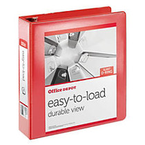 Office Wagon; Brand Heavy-Duty Easy-To-Load Slant D-Ring View Binder, 2 inch; Rings, Rio Red