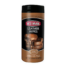Weiman; Leather Wipes, 7 inch; x 8 inch;, Cannister Of 30