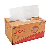 WYPALL L10 1-Ply Utility Wipers, 40% Recycled, White, 125 Wipes Per Box, Carton Of 18 Boxes