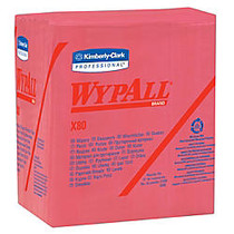 Wypall X80 Wipers, 1/4 Fold, Hydroknit, 12 1/2 inch; x 12 inch;, Red, Pack of 50