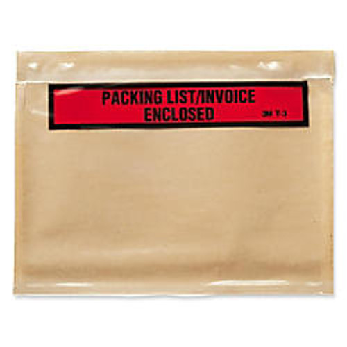 3M Packing List/Invoice Enclosed Envelope - Packing List - 7 inch; Width x 5.50 inch; Length - Self-sealing - Poly - 1000 / Box - Brown