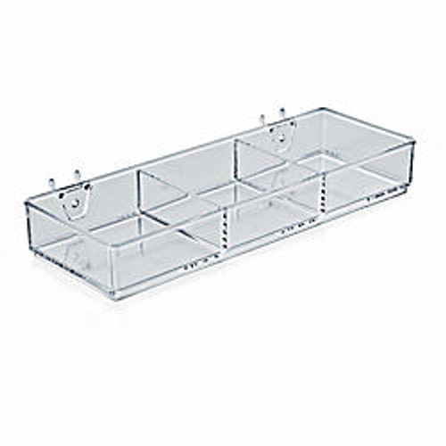 Azar Displays 3-Compartment Tray For Peg/Slat Displays, 1 3/4 inch;H x 12 3/4 inch;W x 4 1/2 inch;D, Clear, Pack Of 2