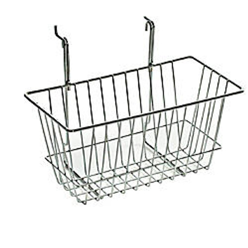 Azar Displays Chrome Wire Baskets, 6 1/4 inch;H x 12 inch;W x 6 inch;D, Silver, Pack Of 2