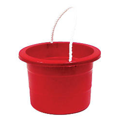 United Comb & Novelty Rope-Handle Plastic Bucket, 2.5 Gallons, Red