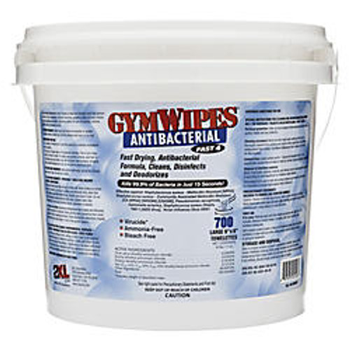 2XL Antibacterial GymWipes, Unscented, 6 inch; x 8 inch;, White, Bucket Of 700