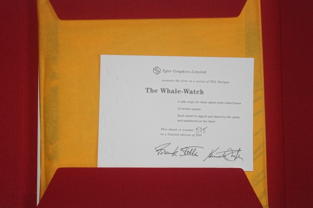 """FRANK STELLA  """"Whale Watch"""" 100% Silkscreen on Silk Hand SIGNED, Numbered with Artist & Publisher Signed COA, New in Italian Red Silk  Box, 1994"""
