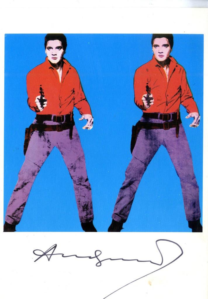 ANDY WARHOL, Elvis I (Hand Signed Card) 1979, Postcard of Elvis I (hand signed by Warhol)