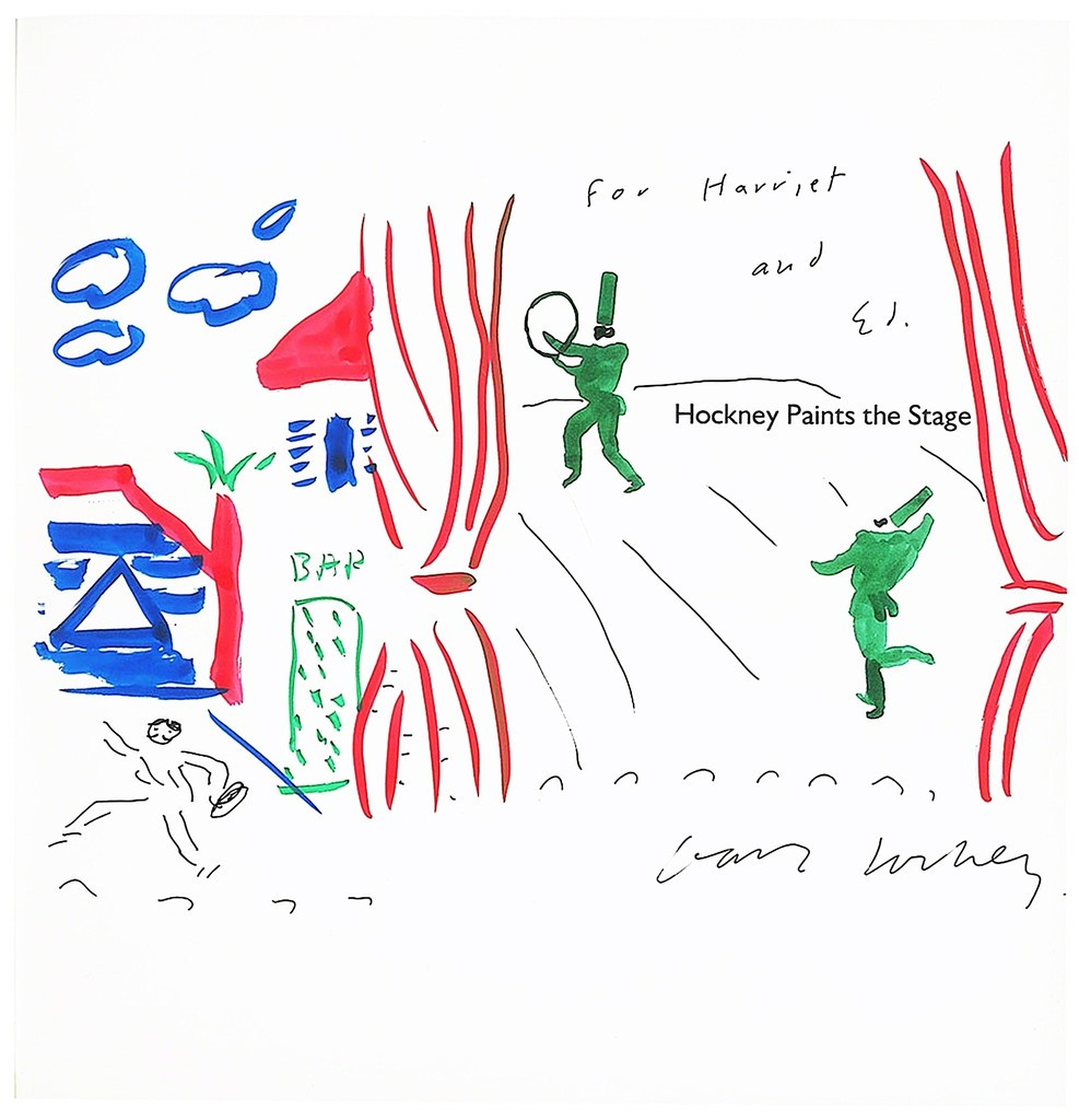 """DAVID HOCKNEY, Original Painting, Hockney Paints the Stage (dedicated to Walker Art Museum Trustees) 1983, Ink, watercolor gouache painting held inside hardback monograph """"Hockney Paints the Stage"""")"""