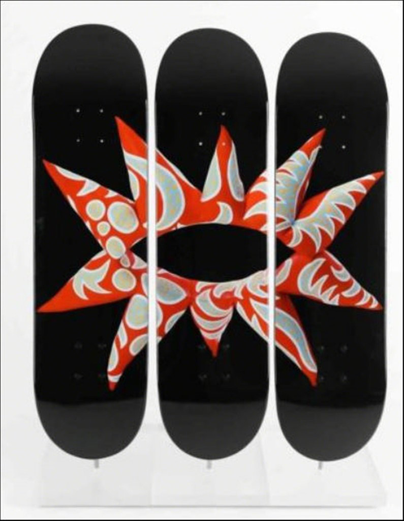 YAYOI KUSAMA,  Limited Edition Skate Deck Triptych 2014,  Set of three Limited Edition numbered silkscreen on maplewood skate deck