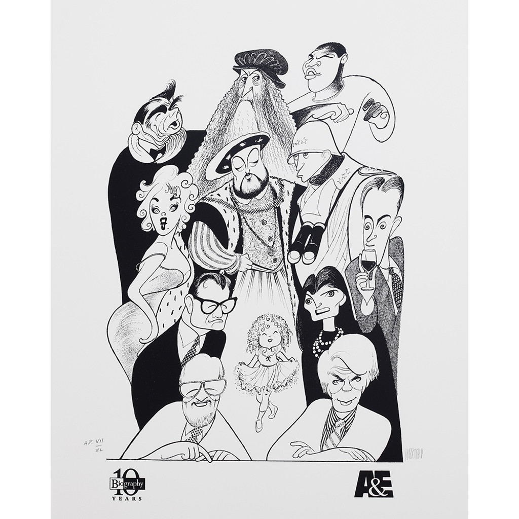 AL HIRSCHFELD A & E Biography 10th Anniversary, Lithograph on Arches cover paper (hand signed & numbered) - unframed ca. 1997