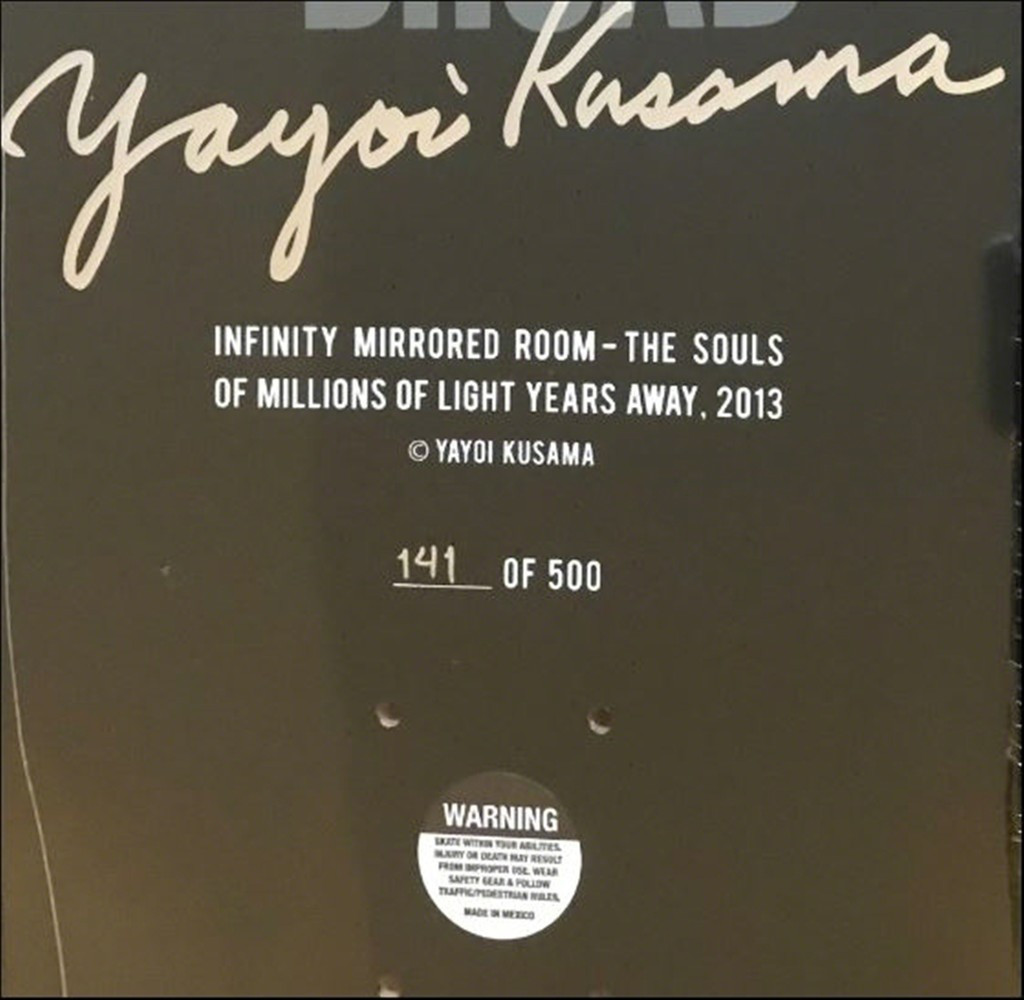 YAYOI KUSAMA Infinity Mirror Skate Deck 2017, Limited edition skateboard, signed and numbered on the deck