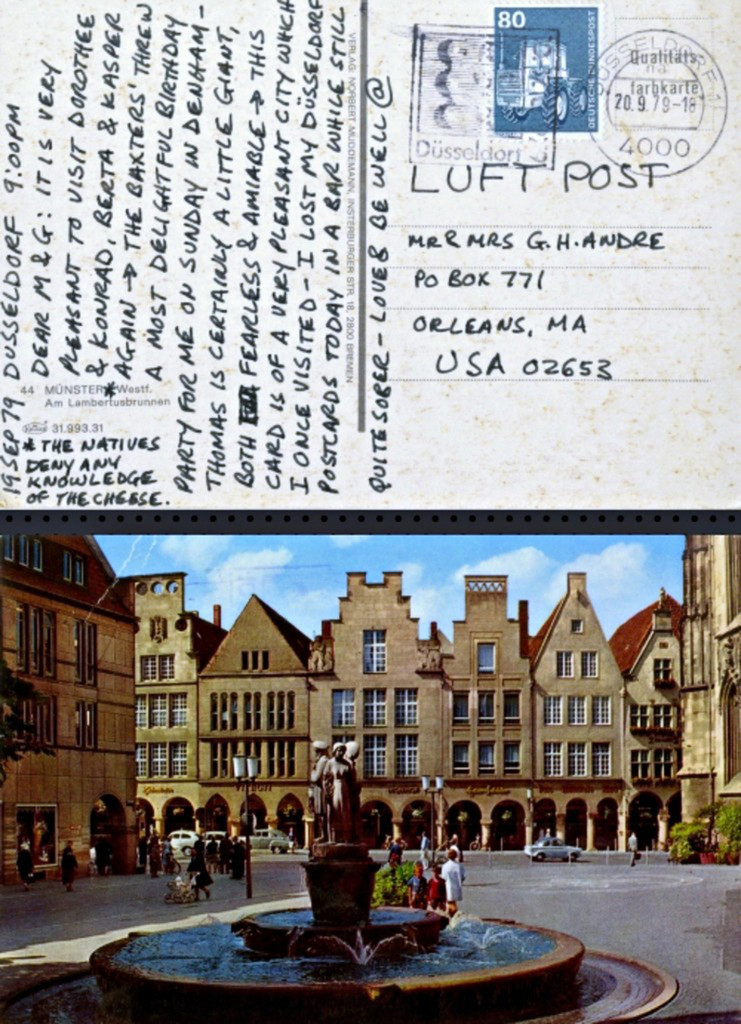 """CARL ANDRE Letter from Dusseldorf: ...""""very pleasant to visit Dorothee and Konrad..."""" 1979, Ink letter on postmarked (franked) postcard"""