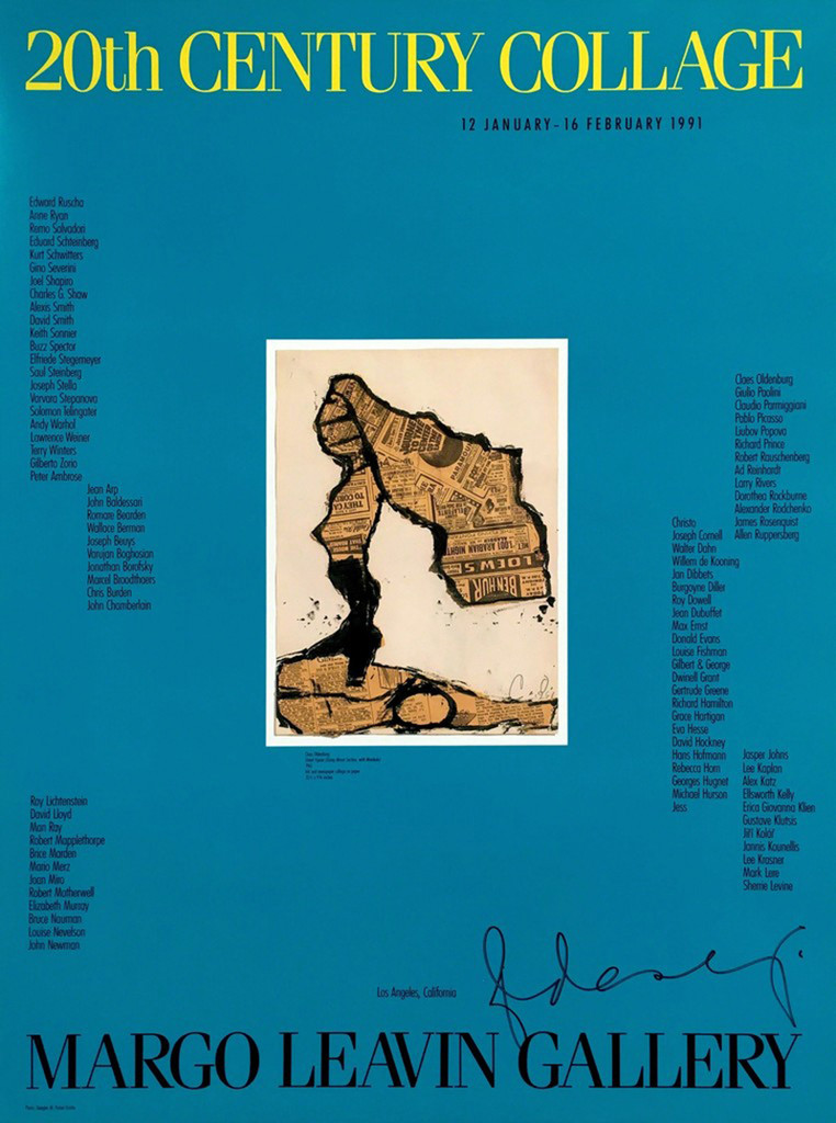 CLAES OLDENBURG 20th Century Collage, (Hand Signed), 1991, Offset Lithograph Poster. Hand Signed. Unframed.