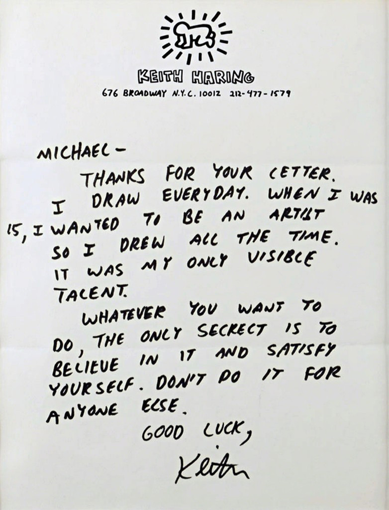 "KEITH HARING Letter to an Aspiring Young Artist: ""BELIEVE IN IT...DON'T DO IT FOR ANYONE ELSE..."" ca. 1987,  Signed letter done in ink on original letterhead paper"