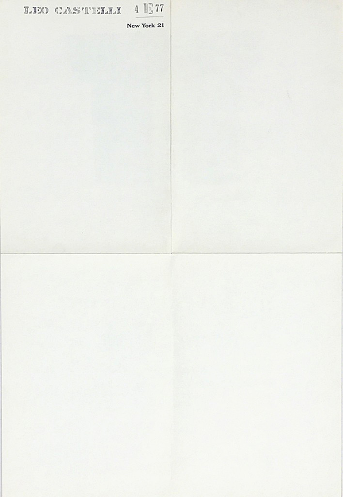 """JASPER JOHNS Rare Vintage Promotional Mailer for Jasper Johns Opening at Leo Castelli Gallery - """"Jasper Johns Drawings, Sculptures and Lithographs"""" 1961, Offset Lithograph Poster"""