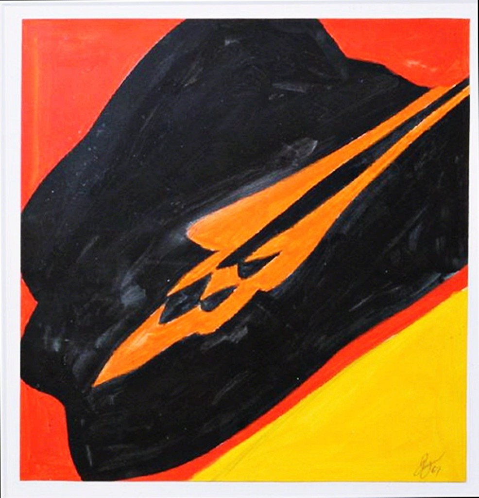 JACK YOUNGERMAN Untitled (J.L. Hudson Gallery label; Accompanied by copy of handwritten letter by the artist) 1967,  Gouache Painting on Paper. Signed. Framed with J.L. Hudson Gallery Label on Verso.