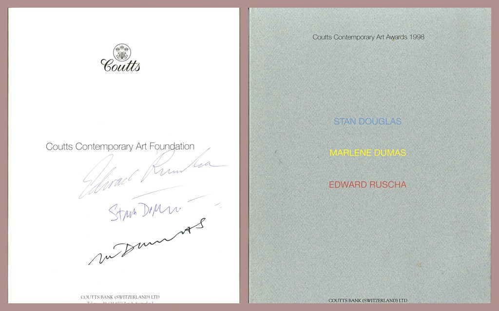 ED RUSCHA Coutts Contemporary Art Awards (Hand Signed by Edward Ruscha, Marlene Dumas, Stan Douglas) 1998, Limited edition softcover catalogue; hand signed by Ed Ruscha, Marlene Dumas, Stan Douglas