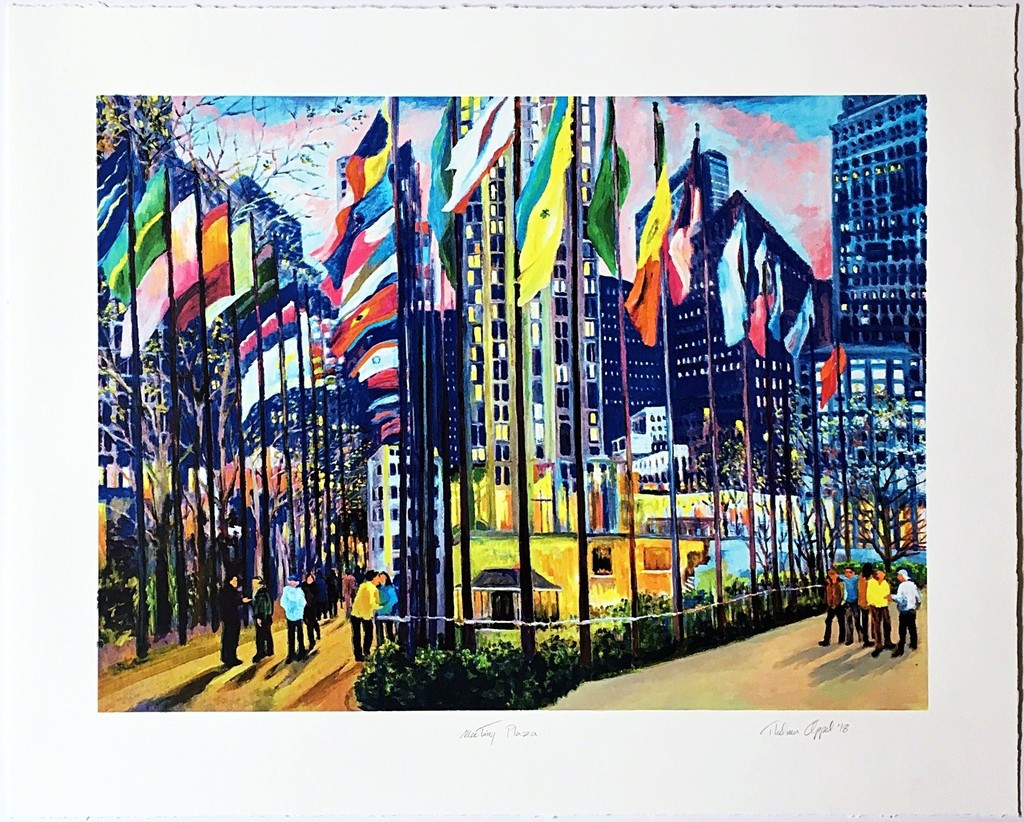 Thelma Appel Meeting Plaza 2018, 25 Color Silkscreen on 320 Gram Coventry paper with deckled edges. Hand Signed, titled, dated and numbered. Unframed. Accompanied by gallery-issued Certificate of Authenticity (COA) - hand signed by the Artist