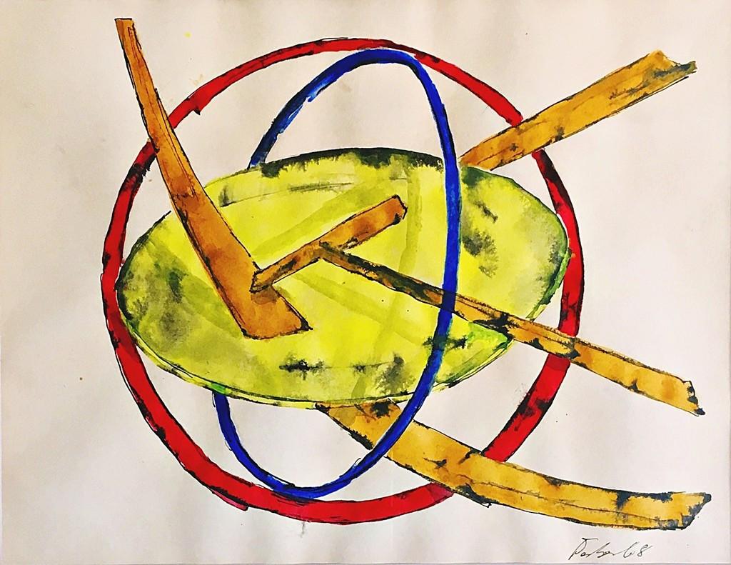 Herbert Ferber Untitled sculptural study 1968, Unique Ink and color washes on paper. Hand Signed. Framed with original Knoedler Gallery label under director Larry Rubin.