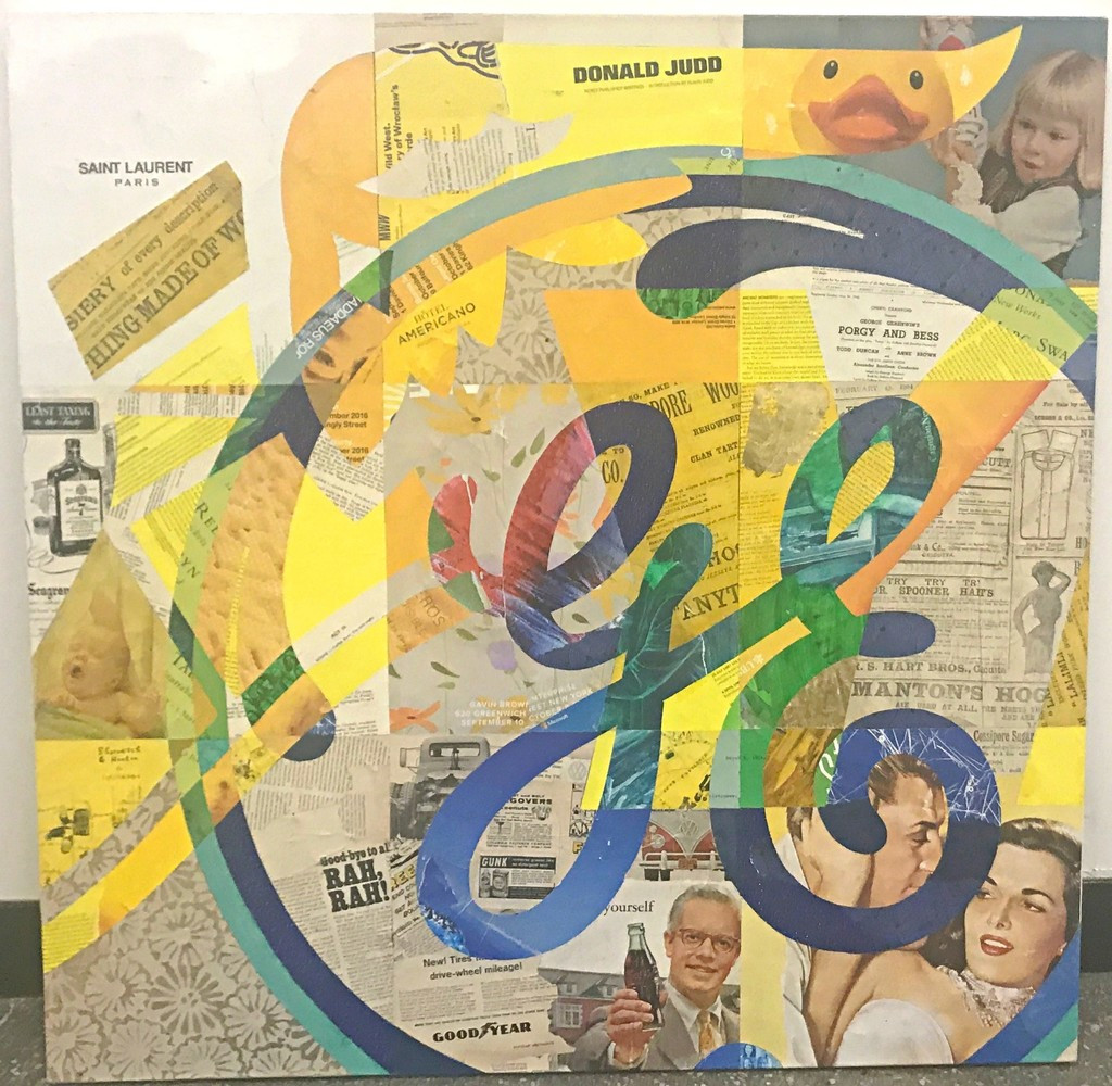 Cey Adams Goodyear X GE (General Electric) 2018, Mixed media and acrylic ink on canvas. Signed, titled and dated. Framed.
