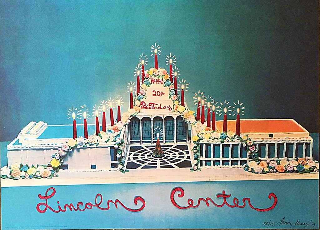 Larry Rivers Happy 20th Birthday Lincoln Center 1979, Lithograph. Hand Signed. Numbered. Dated. Unframed.