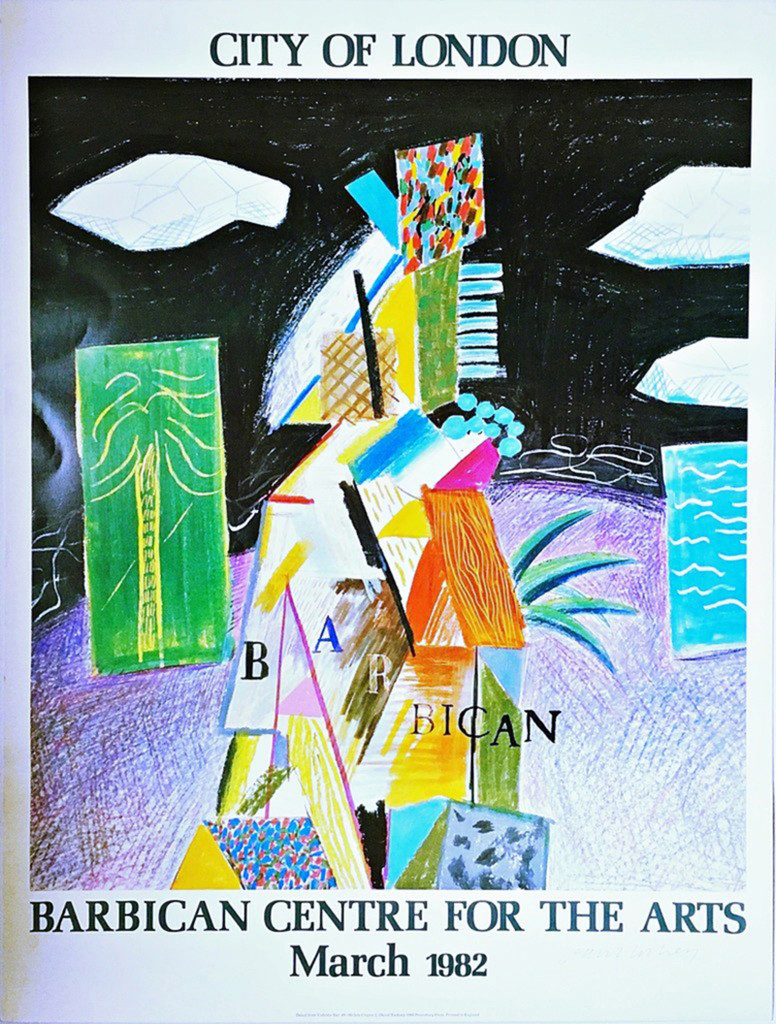 David Hockney City of London (Hand Signed) 1982, Offset Lithograph Poster. Hand Signed. Unframed