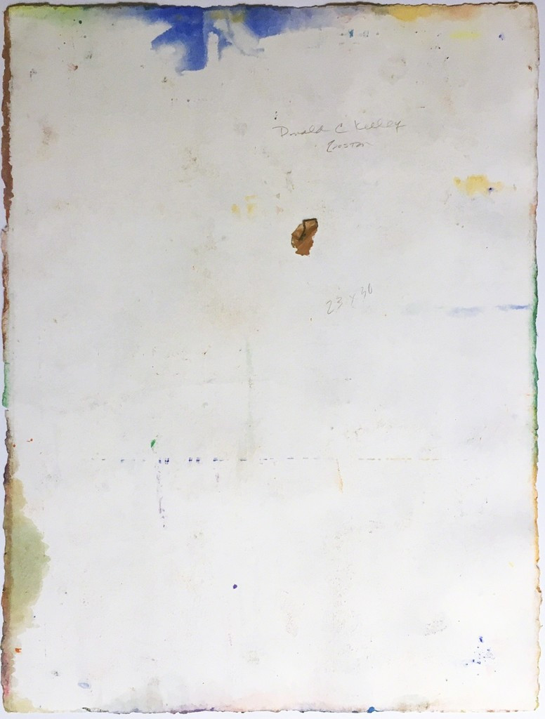 Donald Kelley Untitled Abstract Expressionist painting ca. 1980, Gouache on Arches Aquarelle Paper with deckled edges. Hand Signed. Unframed.