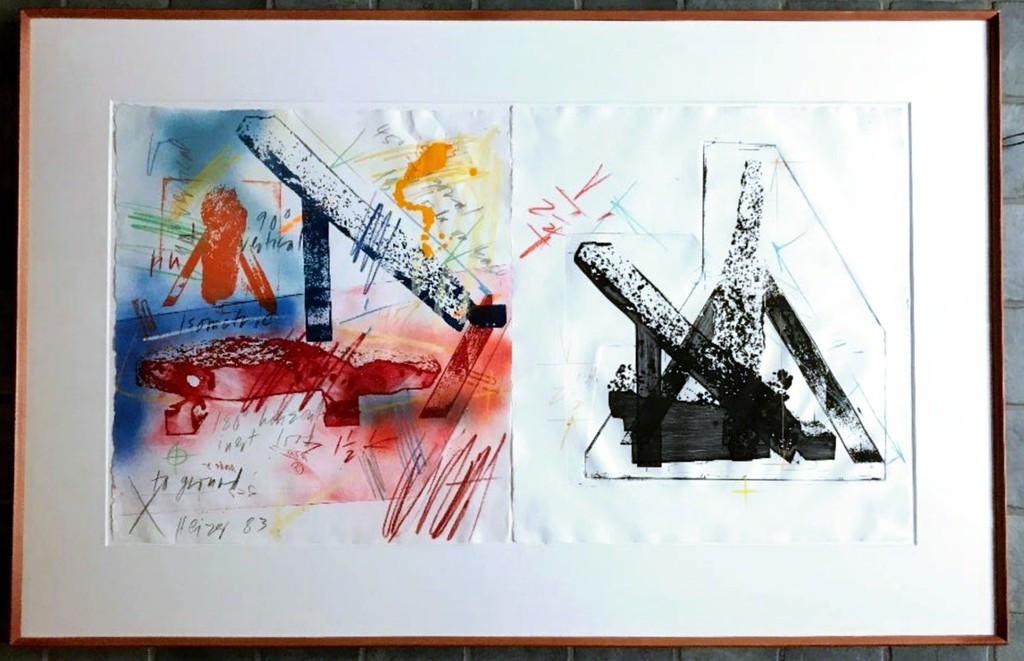Michael Heizer III-8 1983, Two monoprints on white handmade TGL paper, hand colored with colored pencils, Paintsticks, and liquid and spray acrylic paints. Hand signed and dated by artist; publisher's blind stamp.Framed.