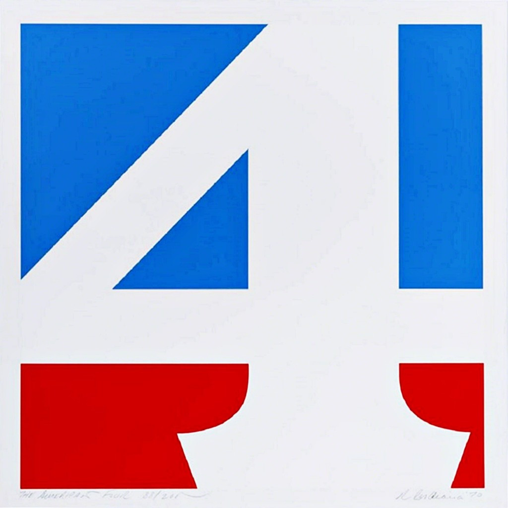 Robert Indiana The American Four (Sheehan, 59) 1970, Silkscreen in colors. Hand Signed. Titled. Numbered. Dated. Unframed.