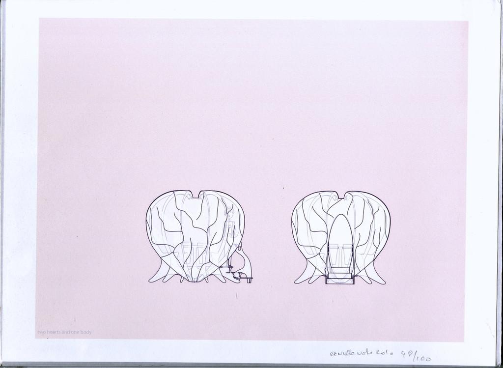 "ERNESTO NETO Print Signed/N Famous Brazilian Latin American Artist ""Two Hearts"", 2010"